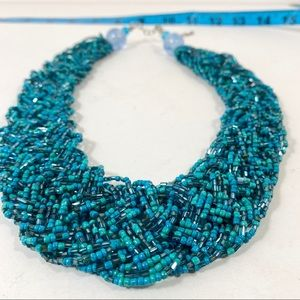 Jewelry - Blue / Green seed bead collar necklace
